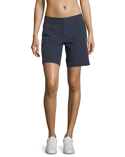Stretch-Woven Flat-Front Shorts