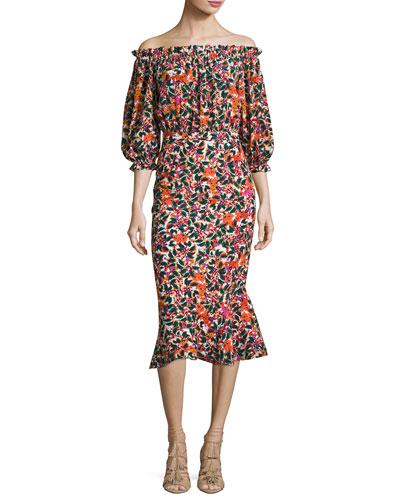 Grace Floral-Print Silk Midi Dress, Multipattern