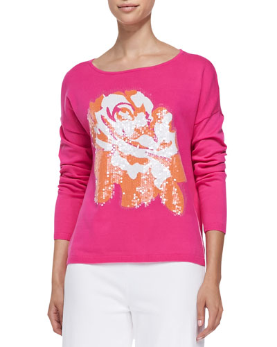 Sequined Floral Dolman-Sleeve Sweater