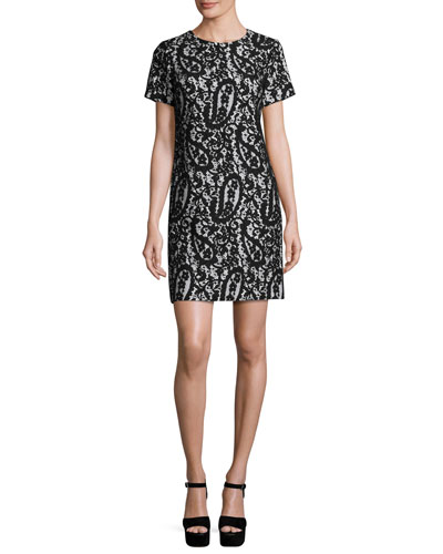 Mod Short-Sleeve Lace-Overlay T-Shirt Dress, White