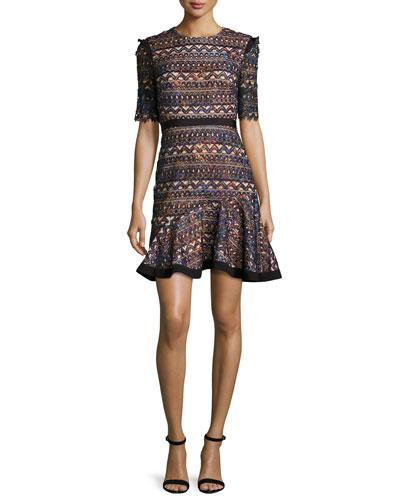 Juno Short-Sleeve Flounce Dress, Rainbow Seagrass