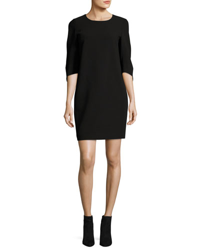 Miriam 3/4-Sleeve Finesse Crepe Dress, Black
