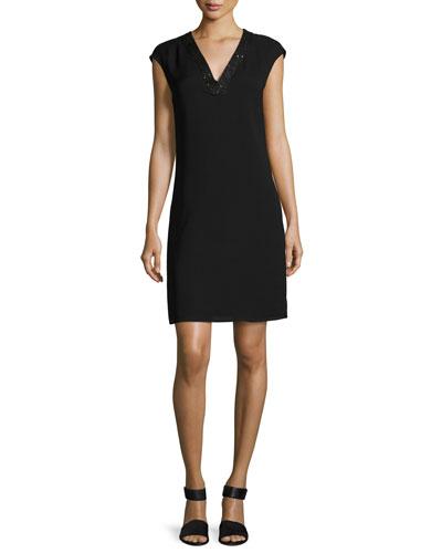 Jolet Cap-Sleeve Sequin-Trimmed Silk Dress, Black