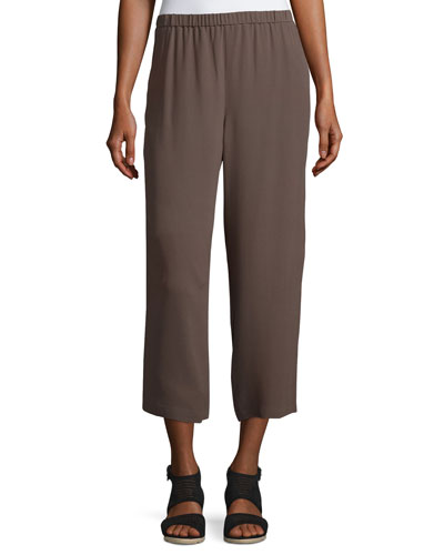 Cropped Silk Georgette Straight-Leg Pants, Cobblestone
