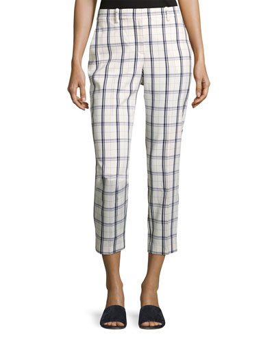Treeca Two-Mix Checked Cropped Pants, White/Blue
