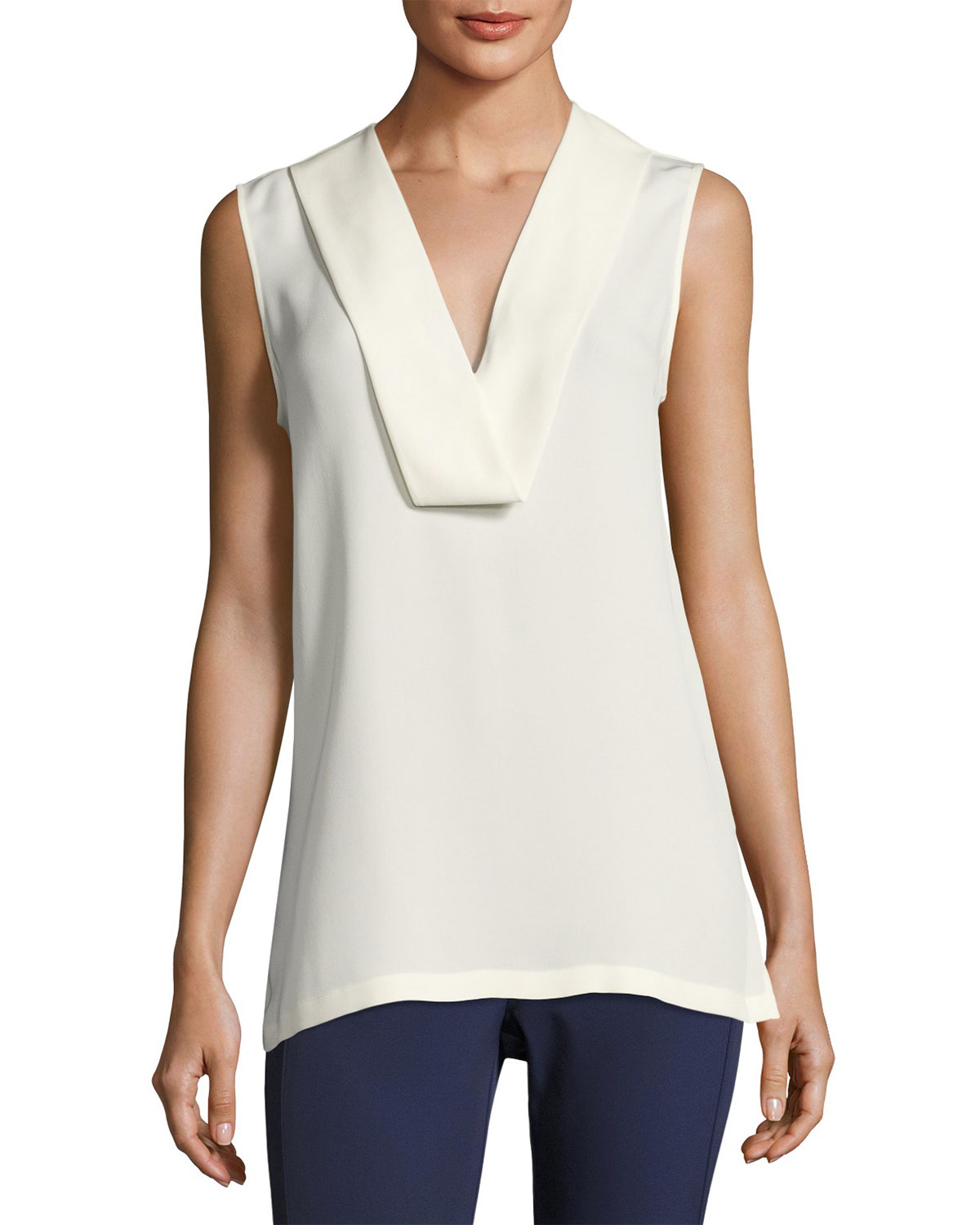 Salvatill Sleeveless Silk Top, Ivory