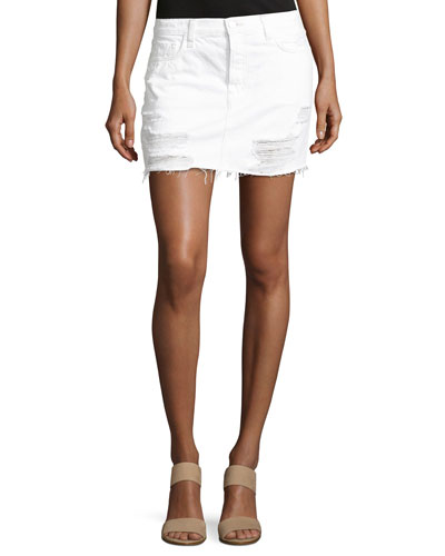 Bonny Mid-Rise Cotton Mini Skirt, Distract
