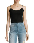 The Jolene Cropped Suede Tank Top, Black