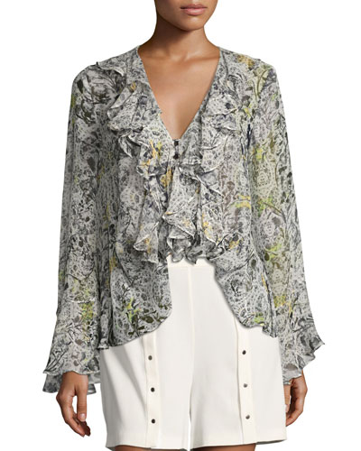Romeo + Juliet Floral-Print Ruffled Blouse