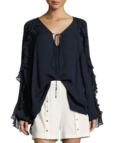 Lover To Lover Long-Sleeve Ruffled Blouse