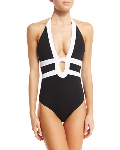 Classsique Contrast Halter One-Piece Swimsuit, Black