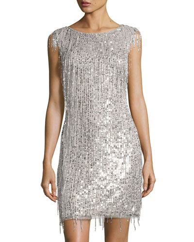 Bateau-Neckline Beaded Cocktail Dress, Silver