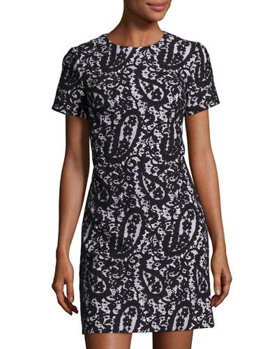 Mod Short-Sleeve Lace-Overlay T-Shirt Dress, New Navy