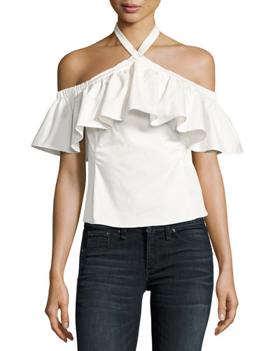 Cold-Shoulder Halter-Neck Ruffle Top, White