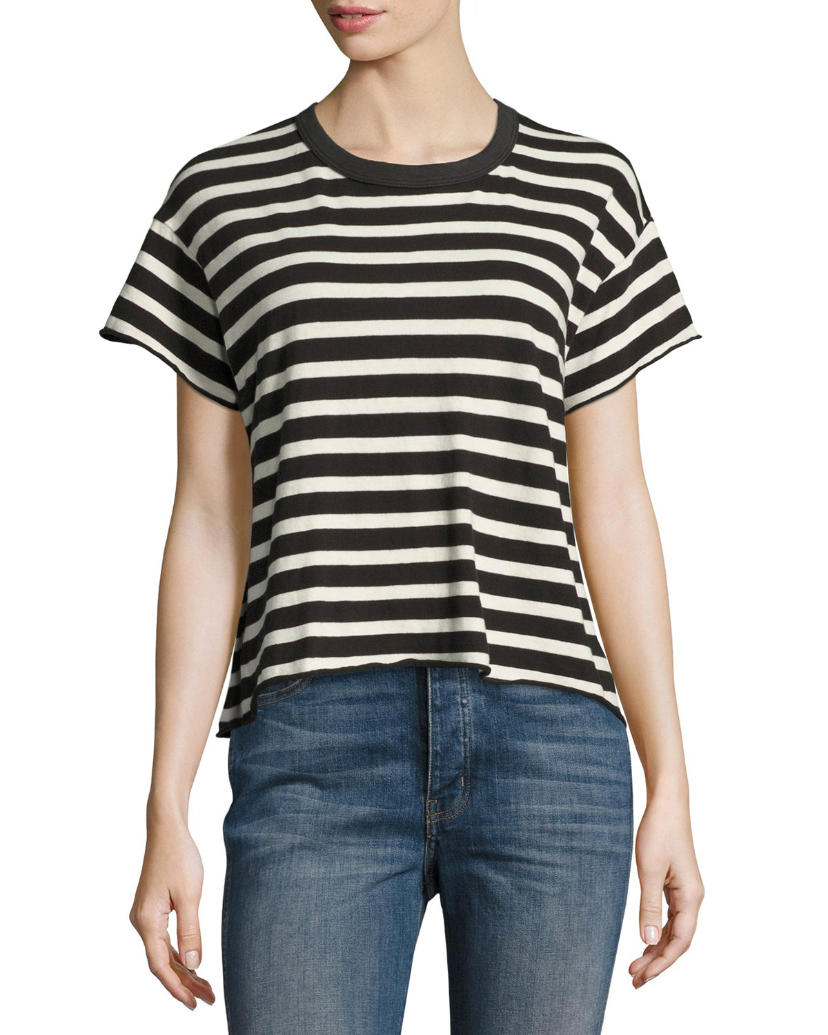 The Cropped Striped Tee, White/Black