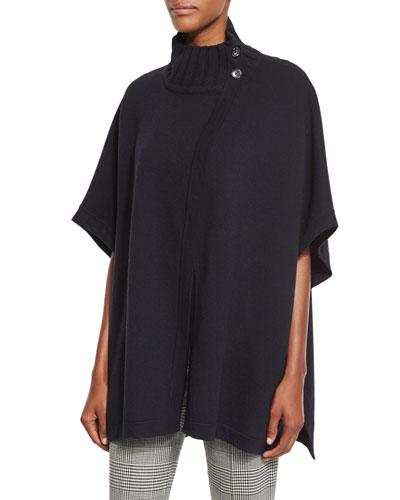 Palomina Plumose Knit Poncho Sweater, Black