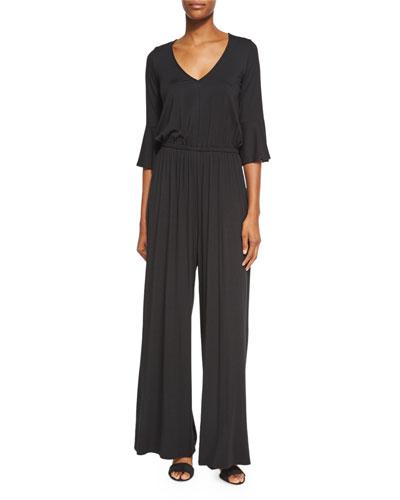 Niky V-Neck 3/4-Sleeve Jumpsuit, Black