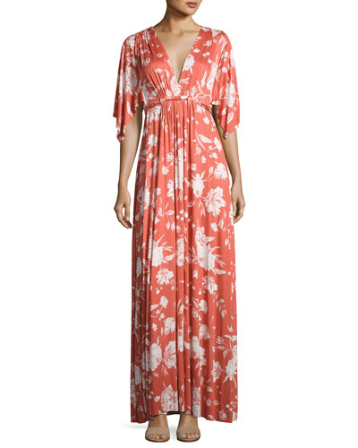 Floral-Print Caftan Maxi Dress, Chipotle Peony