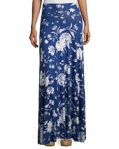 Long Full Convertible Skirt, Seaside Peony Print