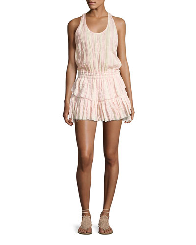 Textured Ruffle Racerback Mini Dress, Pink