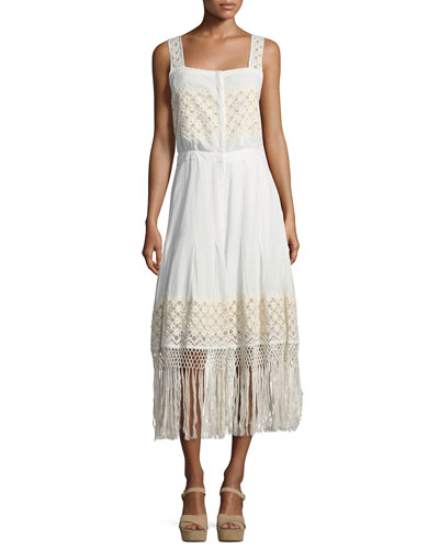 Eve Eyelet Cotton Maxi Dress, White