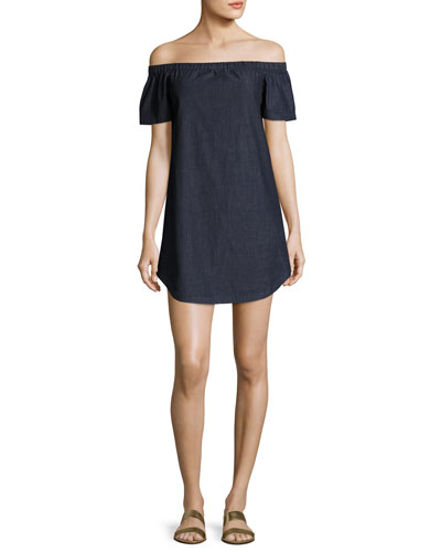 Clark Off-the-Shoulder Chambray Dress, Blue