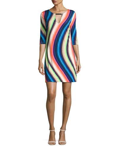 Bolero 3/4-Sleeve Waved Stripe Shift Dress, Multipattern