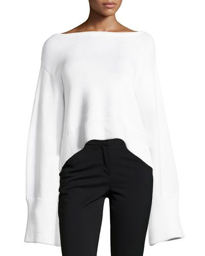 Oversized Cropped Pullover Sweater, White