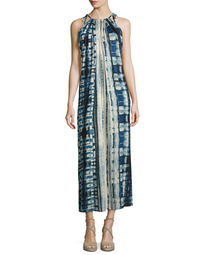 Tie-Shoulder Tie-Dye Long Dress, Multi