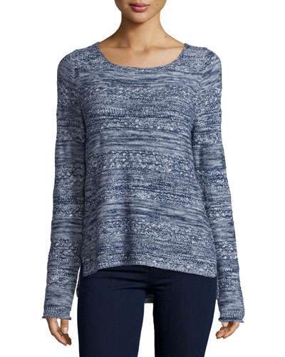 Textured Long-Sleeve Sweater, Dark Navy/Faded Sky