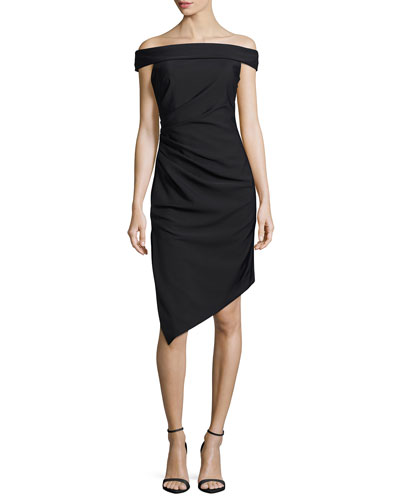 Ally Off-the-Shoulder Asymmetric Cocktail Dress, Black
