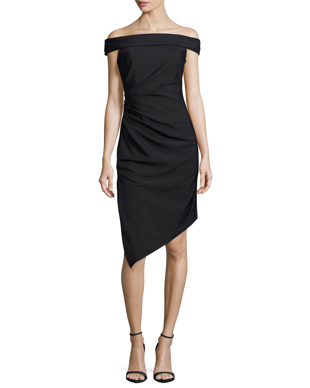 Ally Off-the-Shoulder Asymmetric Cocktail Dress, Black