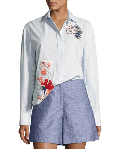 Striped Cotton Button-Down Shirt w/ Floral Embroidery, Baby Blue Multi