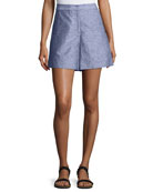 High-Waist Double-Face Chambray Shorts, Light Indigo