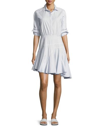 Long-Sleeve Asymmetric Striped Cotton Shirtdress, Baby Blue Multi