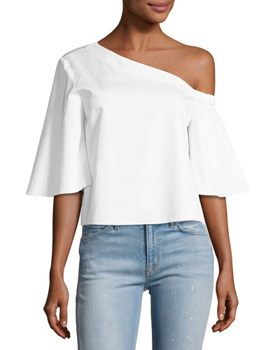 Satin Poplin One-Shoulder Top, White