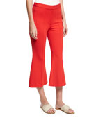 Tailored Ponte Flare-Leg Cropped Pants, Red