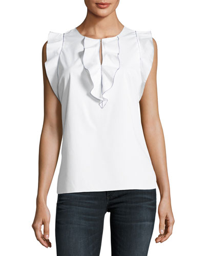 Betty Ruffle-Trim Flutter-Sleeve Blouse