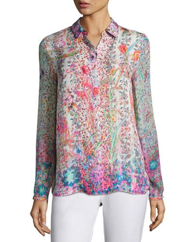 Martha Floral-Print Silk Blouse, Pink