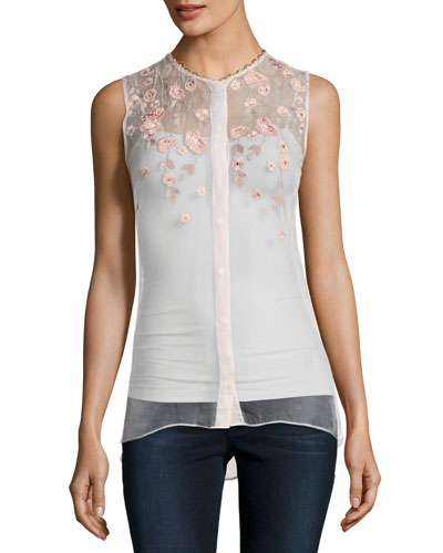 Camila Sleeveless Embroidered Sheer Silk Blouse, White