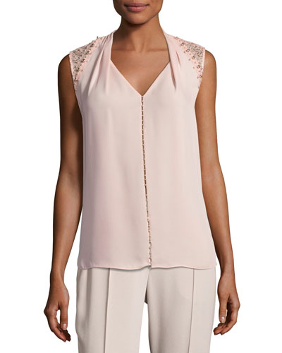 Barbara Lace-Trim Silk Blouse w/ Pearly Embellishments, Pink