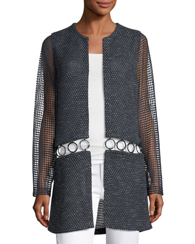 Jaya Mesh-Sleeve Open-Front Jacket