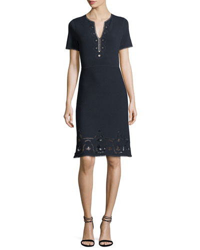 Elie Tahari Scout Short - sleeve Cashmere Sweater Dress