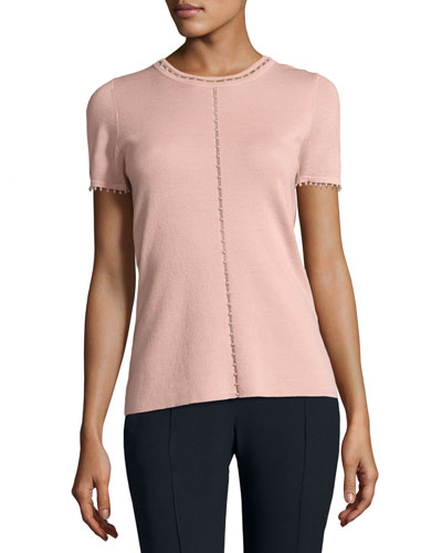 Lily Short-Sleeve Embellished Merino Sweater