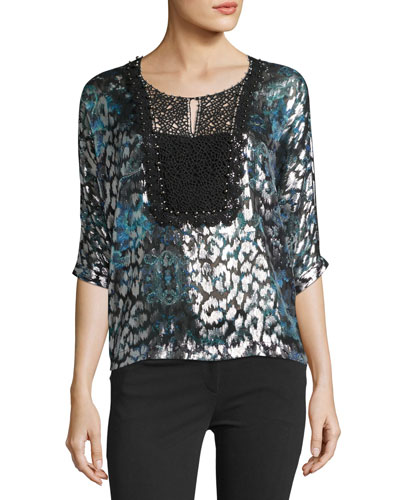 Milan 3/4-Sleeve Lace-Yoke Blouse, Navy
