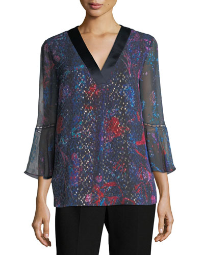 Rose 3/4-Bell-Sleeve Floral Silk Blouse