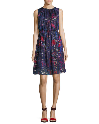 Demetria Sleeveless Printed Silk-Blend Dress