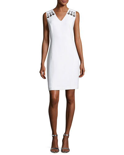 Monica Sleeveless Grommet-Trim Sheath Dress