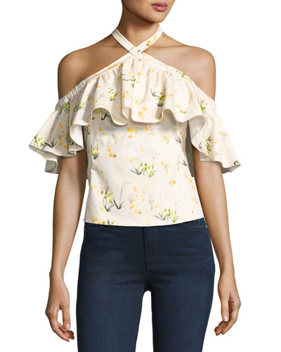 Firefly Floral Cold-Shoulder Top, Yellow/White