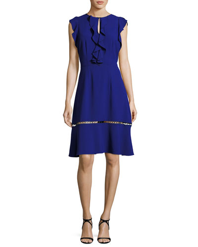 Rachel Ruffle-Trim Silk Dress